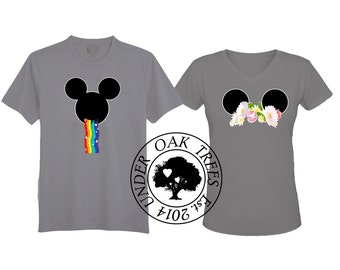 Disney Mickey Ear Snapchat Rainbow Vomit Flower Crown Transfer Image File For couples or Groups - DIY - Instant Download - T Shirt Filter