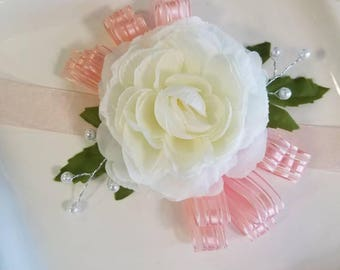 Ivory and bright blush bridesmaid or mother of the bride wrist corsage. WEEKEND SALE