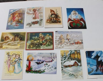 Vintage Used Swedish Scandinavian Christmas Post Cards, Old Fashioned Jultomte Santa Claus Cards, Scrap Booking Crafts Lot of 11 Postcards