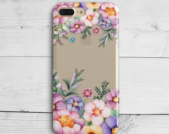 Floral Crystal Flowers Clear iPhone 7 Plus SE iPhone 6s iPhone 6s Plus 5 5s 5c 4s iPad Mini Samsung Galaxy S6 S7 Pink Spring Silicone Case