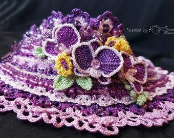 Crochet cuff bracelet, Crochet orchid, Tunisian crochet, Purple cuff, Crochet cuff, Handmade jewelry, Violet bracelet, Crochet flowers