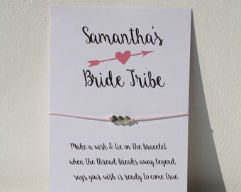Bride Tribe Personalised Wishing Bracelet Hen Party Favour Thank You Gifts