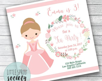 Princess Tea Party Birthday Invitation