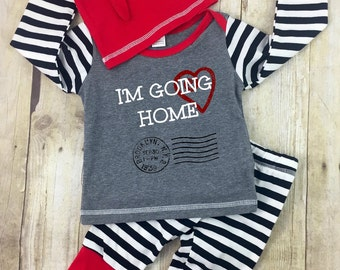 NEWBORN OUTFIT, Coming Home outfit, Baby Boy 3 pc set, Cute Coming Home Set, Personalized Outfit