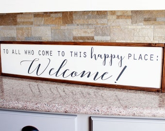 Wood Welcome Sign - Handpainted Sign for Home - 8 x 37