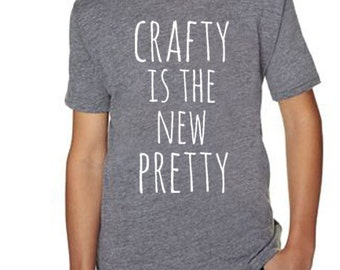 Crafty Is The New Pretty Kids T-Shirt, Kid's Tees. Tri-blend, Comfortable. Funny Gift. Shirts with Sayings. Gray