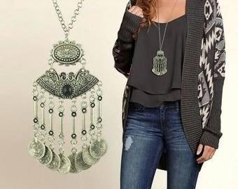 Bohemian Statement Necklace - Turkish Coin Necklace - Long Silver & Black Necklace - Gypsy Coin Necklace - Gypsy Statement Necklace