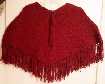 Handmade Crochet Super Soft, Thick, and Warm Luxury Poncho Red/Maroon One Size Fits ALL!