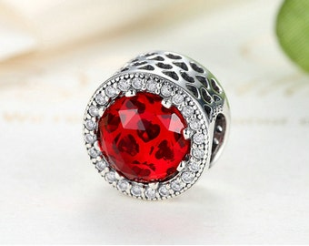 Sterling silver charm bead cubic zirconia fits pandora charms and European bracelet red