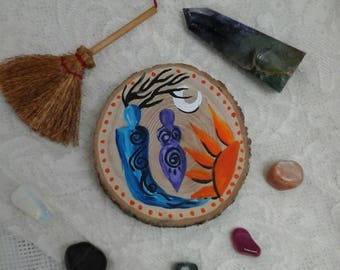 Horned God and Goddess,God and Goddess altar piece,pagan god and goddess painting,god and goddess on wood slice,pagan,wicca,witchcraft,wood