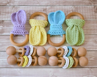 Baby Toys, Baby Rattle, Baby Gift Set, Wooden Teether, Baby Shower Gift, Unique Baby Gift, Eco Friendly Baby, Baby Boy Gift, Baby Girl Gift