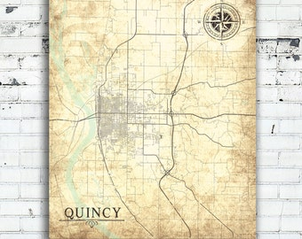 QUINCY IL Canvas Print IL Illinois Town City Vintage map Home Decoration Vintage Map Wall Art poster retro old antique gift card home decor