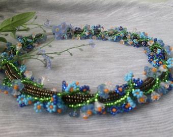 Flower necklace.Ukrainian jewelry. Forget me Not Necklace. Ukraine. Ukrainian necklace.