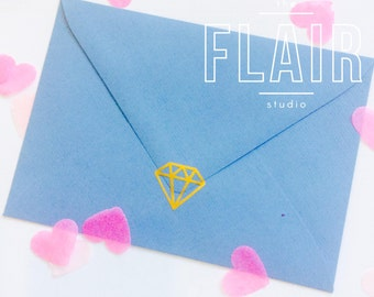 Gold Diamond Envelope Seals / Stickers, Vinyl, Wall Decal