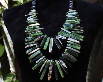 Serpentine and Quartz Plastron Necklace