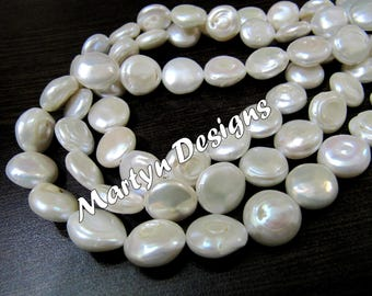 "Beautiful Coin Shape White Pearl Gemstone Beads , Fresh Water Pearl Beads , 12-13mm Size Beads , Length 13"" long , Natural Pearl Beads."
