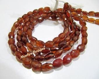 "Best Quality Genuine Hessonite Garnet Beads , Oval Faceted Garnet Beads , Size 5x7 to 6x8mm , Strand 15 to 16"" long , Natural Gemstone Beads"