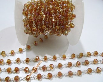 AAA Quality Mystic Coated Hessonite Hydro Quartz Beaded Chain , 6 mm Rondelle Faceted Rosary Chain , Wire Wrapped Chain , Sold per 3 FEET.