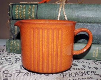 Vintage (c. late 1980s) Denby Autumn Gold stoneware creamer | milk jug. Burnt Orange | rust, ribbed details. Hard to find pattern!