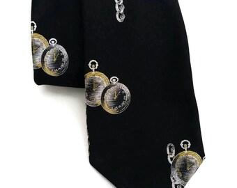 Vintage Pocket Watch novelty mens necktie,Superior Tailors by Damon, Steampunk necktie, Watch necktie,Vintage Mens Office Wear,Gifts for men