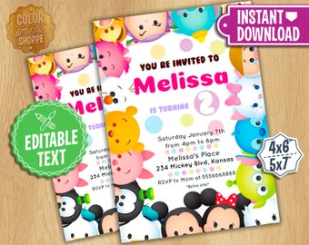Tsum Tsum Invitation - EDITABLE TEXT - Disney Tsum Tsum Birthday Party Invite - Mickey, Minnie, Frozen, Characters - Instant Download