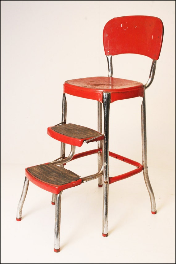 Vintage Cosco Step Stool Red Metal Industrial Steampunk