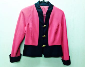 HOT PINK-BLACK Wool Funky,Retro, Cropped blazer