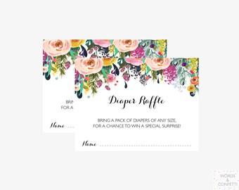Baby Shower Insert, Diaper Raffle Ticket, Diaper Raffle Printable, Baby Shower Diaper Raffle, Invitation Insert, Floral, Download, PDF, JPEG