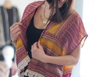 Upcycled silk Boho vest; festival clothing;  short Gypsy jacket; red and yellow gypsy vest