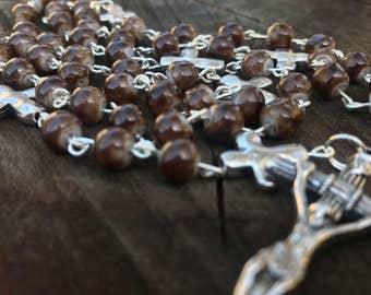 Men's Rosary. Brown Catholic Rosary,  brown stone, men's rosary, womens rosary. prayer beads