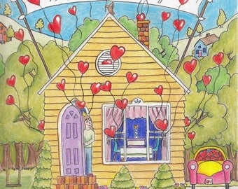 Birthday House-Original Artwork Print