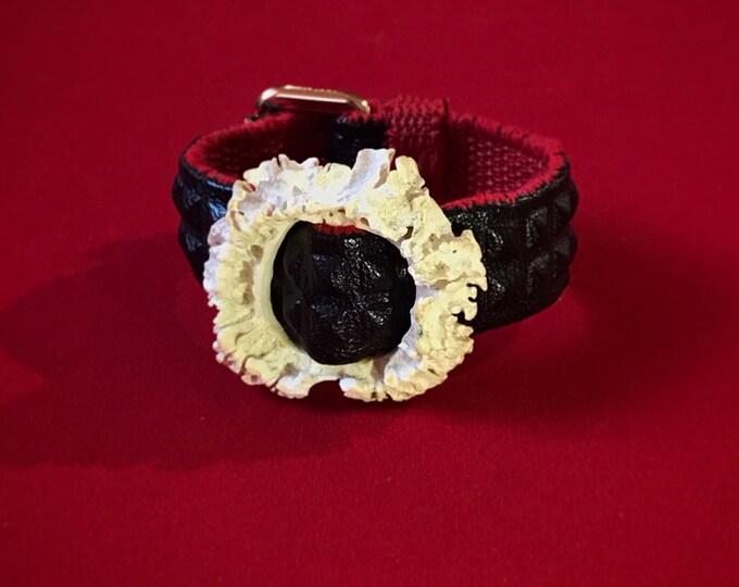 Elegant unisex bracelet FabulouSkeletonS made of eco leather and real deer horn.