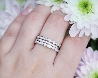 14K White Gold Diamond Wedding Band Set Half Eternity Band -3PCS Engagement Band Wedding Ring Engagement Ring Anniversary Gift For Her