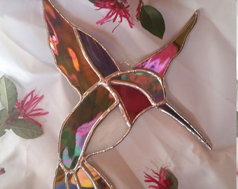 Stained glass hummingbird suncatcher. Tiffany style. Bird gift home decor green iridescent