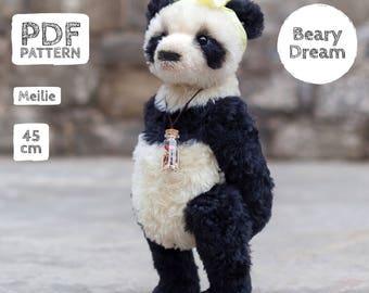 Artist Mohair Teddy Panda pattern, teddy bear pattern, teddy pattern, stuffed toy pattern, soft toy pattern, 45 cm, Meilie