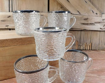 Vintage Clear Glass Textured Cups with Silver Rim, Set of 5 Cups, Punch Bowl Cups