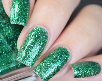 "Emerald City"" Green Glitter Polish - Full Size 15 ml bottle."