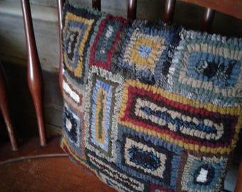 Geo Mat Hand Hooked Wool Pillow.
