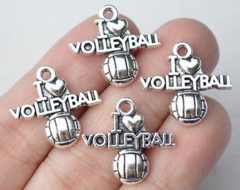 Bulk 35 Pcs Volleyball Charms I Love Volleyball Charms Antique Silver Tone 20x21mm - YD1145