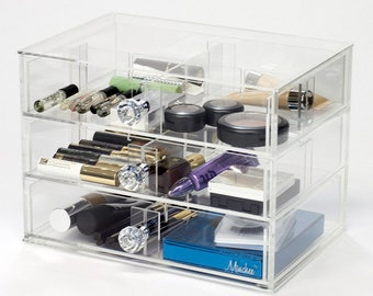 3 Drawer Makeup Organizer | Heart 7W - Clear Acrylic Makeup Storage