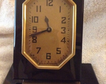 Vintage Waterbury Mfg Co The Lux Art Deco Black Onlyx Mechanical Clock Made in Conn. USA