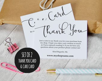 Etsy Shop Thank You Cards and Care Cards, Set of 2, INSTANT DOWNLOAD, Etsy Sellers, Printable Packaging Cards, Shop Review Cards, Business