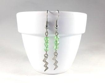 Green Lightning Bolt Earrings