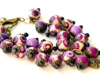 Bohemian bracelets Purple Beads bracelet Chunky Beaded bracelet Polymer Clay bracelet Everyday Bracelet for Women Fimo Jewelry for Girls