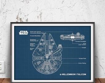 MILLENNIUM FALCON poster, millennium falcon printable, millennium falcon blueprint, star ship decor, disney wall art, han solo, rebel, 34001