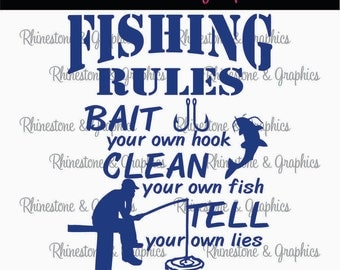 Fishing Rules Fisherman Catfish Pattern Instant Download SVG EPS DXF Cutting file
