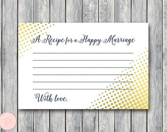 Gold A Recipe for a Happy Marriage Printable Card, Wedding Shower, Bridal shower game, Bridal shower activity, Printable Game TH75