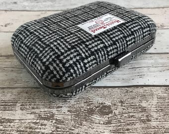 Harris Tweed Box Clutch Bag, Black & White Graphic Check Tweed, Box Clutch, British Clutch, Harris Tweed Accessory, Liberty Print
