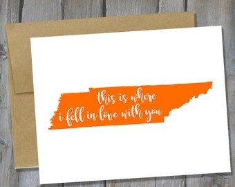 Customizable Tennessee Where I Fell In Love With You Notecard - Anniversary Card - Card for Husband/Boyfriend - Buy 3 Get 1 Free