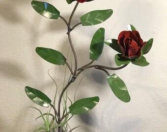 Handmade Metal Rose Tillandsia Air Plant Garden Planter Decor Live Art Sculpture